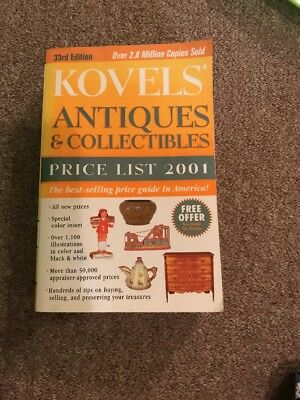 KOVEL'S ANTIQUES & COLLECTIBLES Price List 2001 ~ Large Paperback / Ships Free
