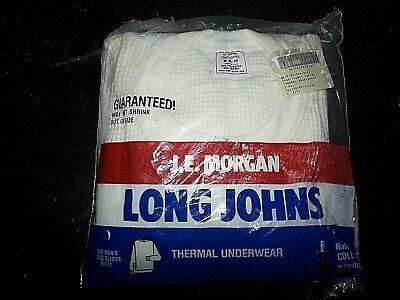 NEW NIP S vtg J.E. Morgan waffle henley Thermal Shirt Long Johns  50/50 USA Made
