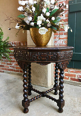 Antique French Carved Oak Center TABLE BARLEY TWIST Library Sofa Renaissance