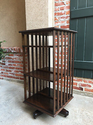 Tall Antique English Tiger Oak Revolving Rolling Bookcase Bookshelf Library