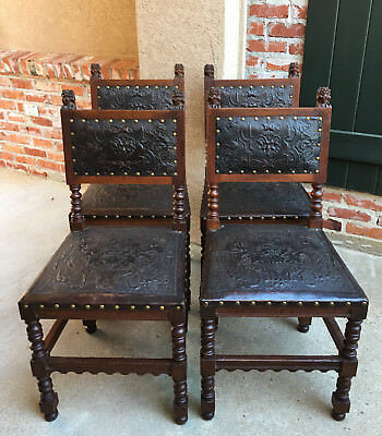Set 4 Antique French Renaissance Carved Oak Dining Chair EMBOSSED LEATHER Brown.