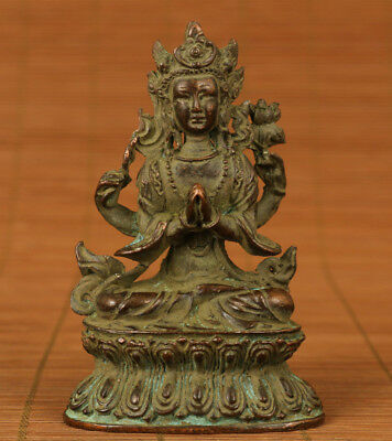 collectable rare big Bronze Hand solid carved buddha Feng shui statue deco
