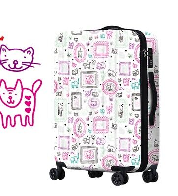 A669 Lock Universal Wheel White Cartoon Travel Suitcase Luggage 24 Inches W