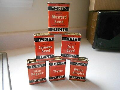 Vintage Older Used TONE'S Spices Cooking Kitchen Orange Spice Tin Lot of 6 Cans