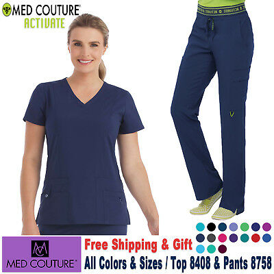 Med Couture Scrubs Satz 4-Way Energie Stretch Top & Hose Medizinisch Uniform