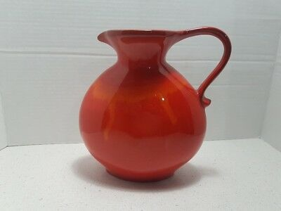 Rare Flame Red Orange Blue Mountain Pottery Water Jug Urn
