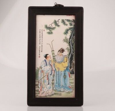 Ancient Chinese Porcelain Plate Painting Decoration Wall Painting Scholars Colle