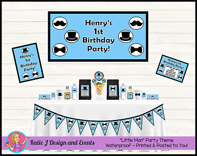 LITTLE MAN Moustache Personalised First 1st Birthday Party Decorations Supplies