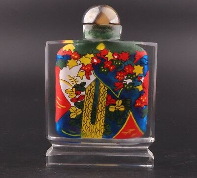 Vintage Chinese Glass Snuff Bottles Hand-Painted Interior Paintings Adorn Gift