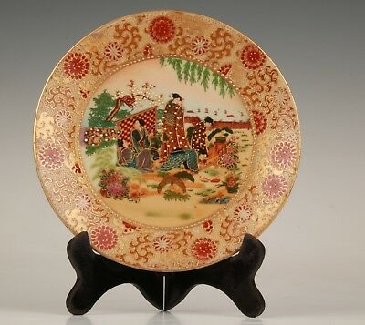 Japanese Style Porcelain Decoration Plate Belle Collection + Wood Base Gift