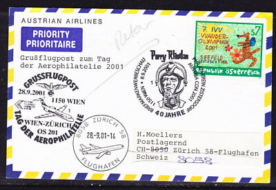 Austria 2001 Austria Airline Vienna to Zurich Flight Card Double Cancellation