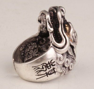 Tibetan Silver Hand Carved Dragon Animal Statue Unique Ring Collection Gift