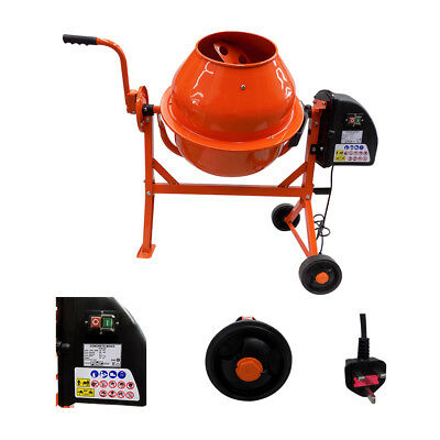 Portable Electric Cement Concrete Mortar Mixer Drum Plaster 230V Wheels 63L