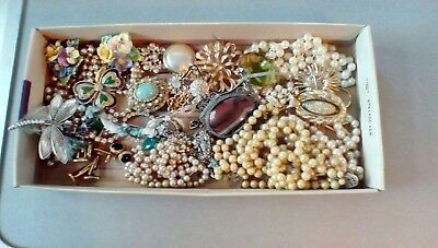 Job Lot Of Vintage Costume Jewellery(34),crown Brooches,rings,necklaces,pendants