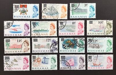 Bahamas QE II 1966 Decimal Overprinted Set Used SG 273/87 (cat £16)