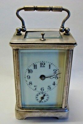 Late 19th silver plated cased chiming alarm and repeating carriage clock