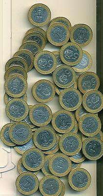 50 BI-METAL 5 PESO COINS w/ DINGS from the DOMINICAN REPUBLIC (ALL DATING 1997)