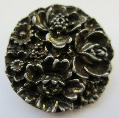 "Wonderful LARGE Antique~ Vtg Heavy Cast Metal Picture BUTTON Flowers 1- 1/4"" (Y)"