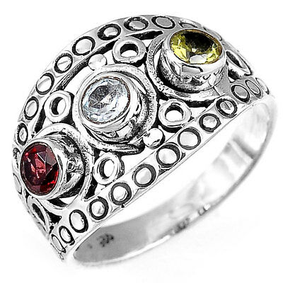 Solid 925 Sterling Silver Ring Genuine Garnet Topaz Gemstone Handmade Jewelry Si