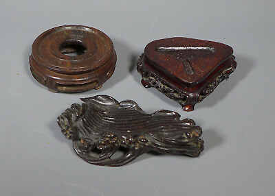 3 Vintage Miniature Chinese Carved Wood Vase And Okimono / Jade Stands
