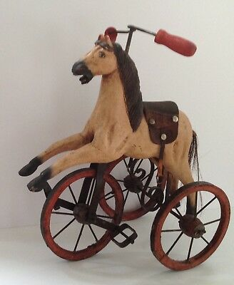Antique Wooden & Metal Horse Childs Hand Carved Tricycle French Doll