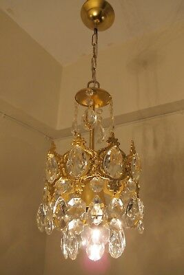 Antique Vintage small French Basket style Crystal Chandelier Lamp 1940's 7 in..