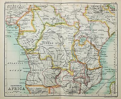 Antique Bartholomew Map - Small Folding Map - Central Africa