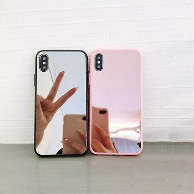 Bumper Case Pink Mirror Back Protective Covers For iPhone Xs Max XR X 7 8 Plus