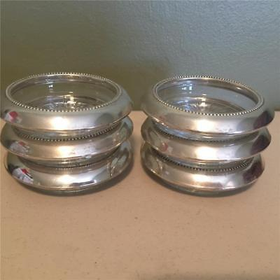 6  Vintage Sterling Slver And Crystal Coasters - Frank M Whiting