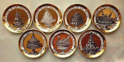 """FORNASETTI """"PRANZO ALLE OTTO"""" (DINNER AT EIGHT) ~ 7 x COASTERS 4"""" DISHES VINTAGE"""