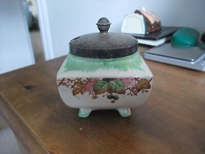 Lovely Lancaster & Sons English Ware Jam Preserve Pot & Silver Plate Lid