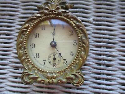 Antique Small Brass Waterbury Wind Up Clock for Repair or Parts