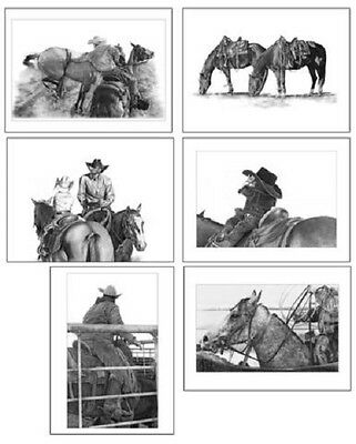 Western Notecards Set of 6 Different Horse/Rider Images~ROBYN COOK PENCIL ART~