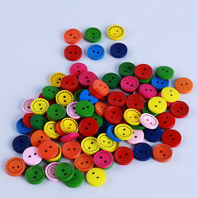 Mixed Color Painting Round 2 Holes Wood Wooden Buttons for Sewing Crafting S