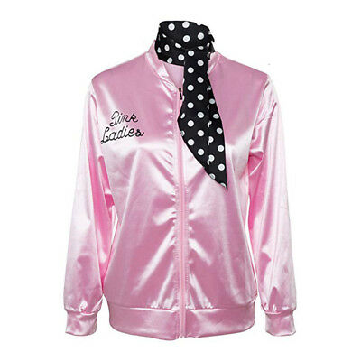 Womens Zipper Danny Pink Satin Jacket Coat Outwear with Polka Dot Scarf MH