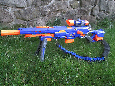 NERF Longstrike CS-6 + 3 x Mags, color painted scope, bipod and strap.