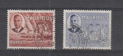 Mauritius 1950  5r and 10r fine used SG 289, 290 Cat £68