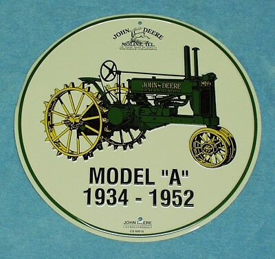 """John Deere Model """"A"""" Round Metal Tin Sign Farm Tractor Vintage Style"""