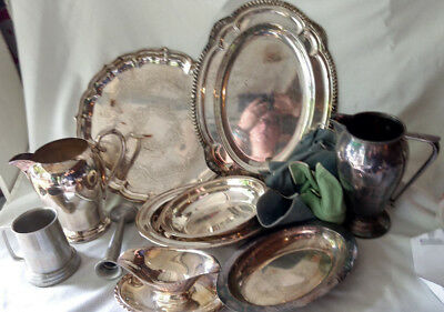Huge Silverplate Copper Lot Large Trays Teapot Pitchers Stein Serving Platter