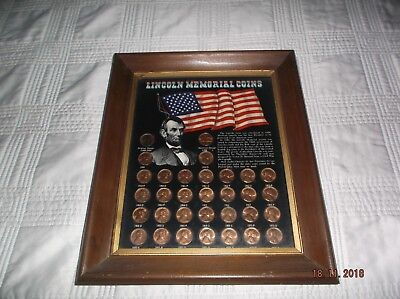 VINTAGE Framed LINCOLN ONE CENT MEMORIAL Coins Collection 1959-1972