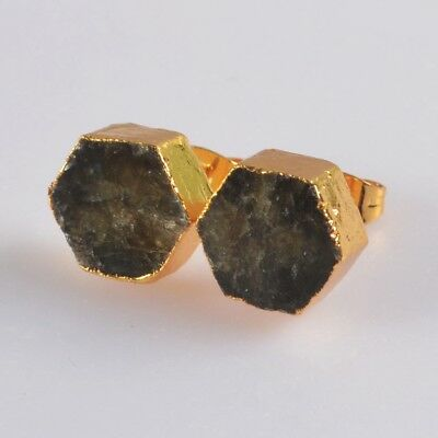 10mm Hexagon Natural Labradorite Stud Earrings Gold Plated T070001