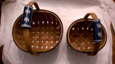 Set of two Woven Christmas Winter Snowflake Baskets with Porcelain Handle Painte
