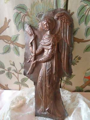 Rare 19th Century French Convent Copper Plaster Mould Of An Angel C.1870