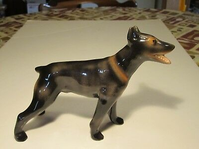"""Quality Doberman Porcelain Standing Dog Figurine With Open Mouth 6"""" X 9"""""""