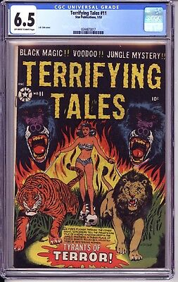 Terrifying Tales #11 Cgc 6.5  Ow White Pages! Classic Lb Cole Gga Cover