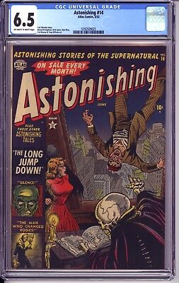 Astonishing #14 Cgc 6.5  Ow White Pages!  Great Horror And Gga Cover!  Skeleton