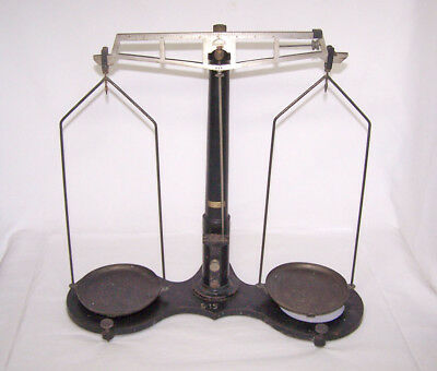 """Antique Central Scientific Balance Scale Brass & Cast Iron 18"""" Tall"""