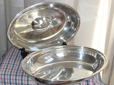 Hotelware Silver Plated Lidded Serving Dish Vegetable Oval Tureen Manco Vintage