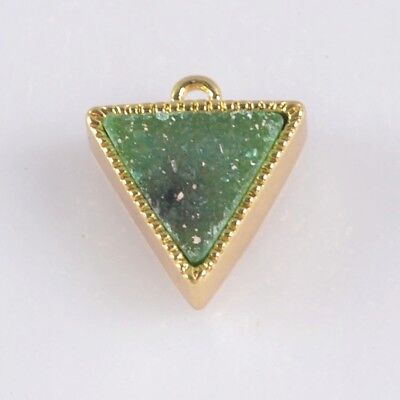 10mm Triangle Green Agate Druzy Geode Bezel Charm One Bail Gold Plated T070048