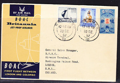 Ceylon 1957 B.O.A.C Britannia  Colombo to London Flight Cover
